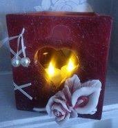 Lanterna artigianale rossa romantica - Romantic wax luminary