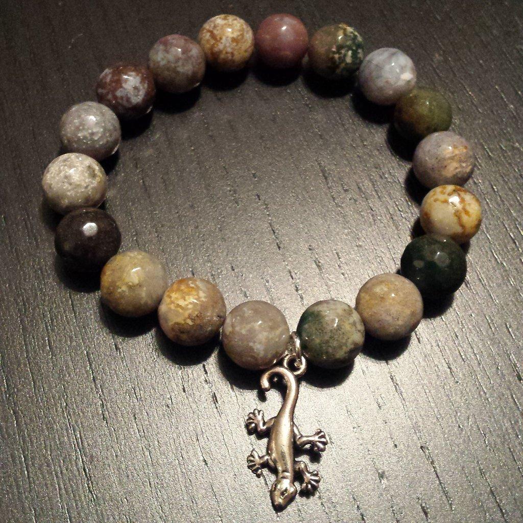 Bracciale elastico pietre dure agata con ciondolo geco
