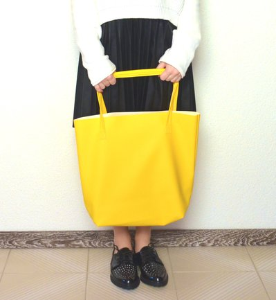 Borsa - maxi shopper - in ecopelle giallo