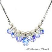 Collana in acciaio perle bianche gocce cristallo Swarovski Crystal AB fatta a mano - Ginestra