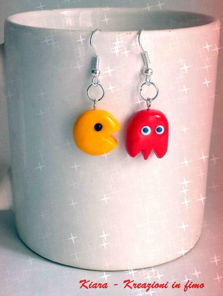 Orecchini in fimo handmade Pac-Man kawaii miniature idee regalo amica compleanno bomboniere