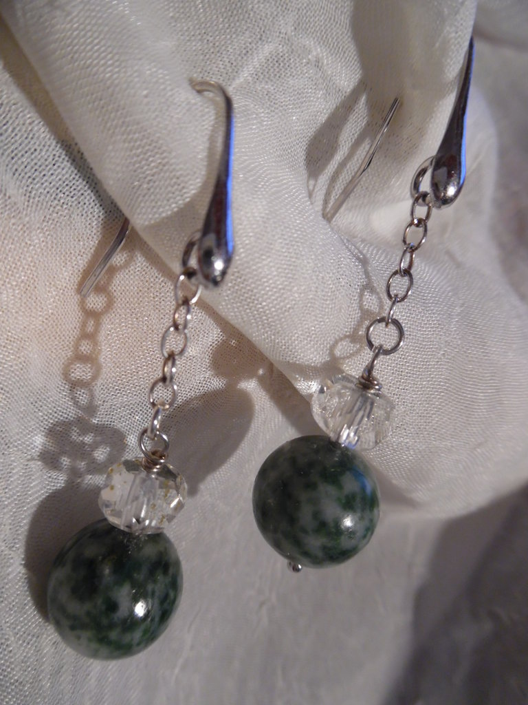 Orecchini serpentino cristallo di rocca argento 925