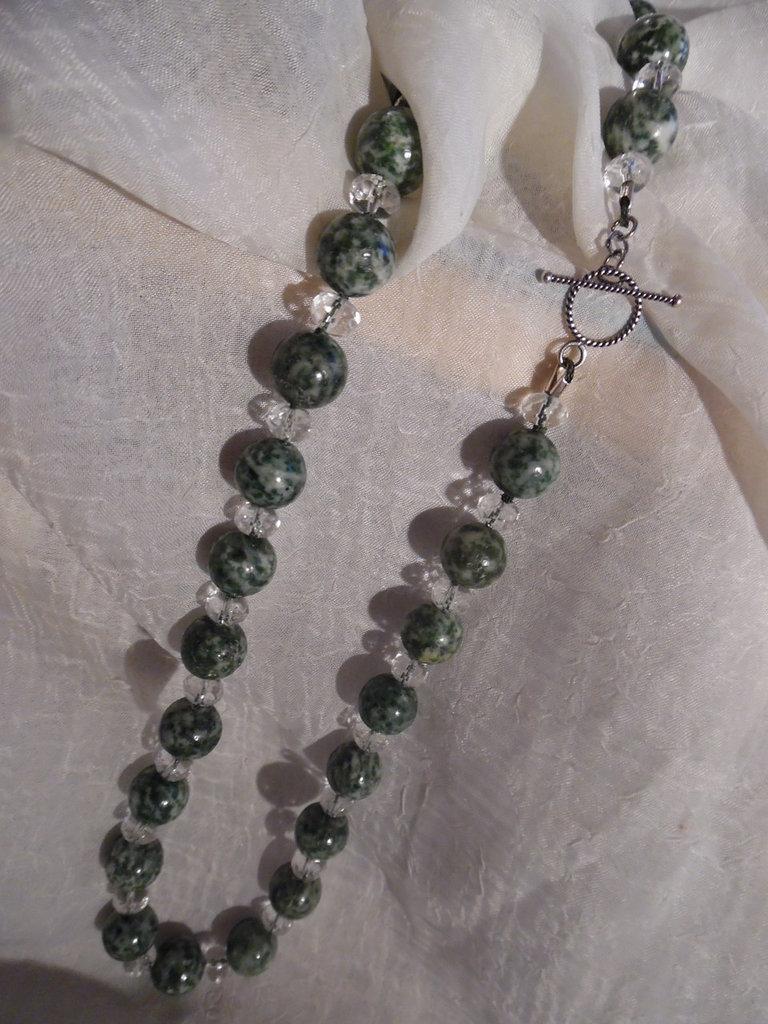 Collana serpentino cristallo di rocca argento 925