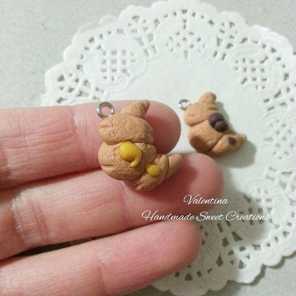 Ciondolo croissant brioche fimo