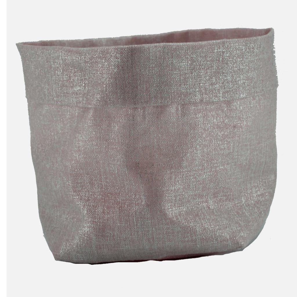 Sacchetto portaoggetti in lino argentato