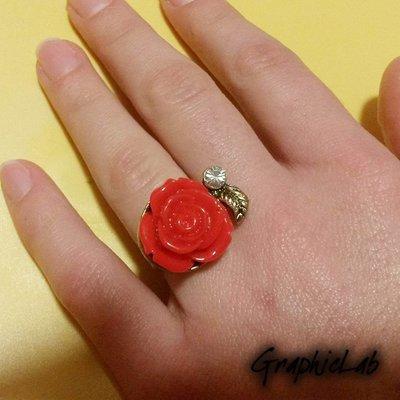 Anello La Bella e La Bestia Rosa Rossa
