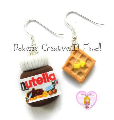 Orecchini Barattolo Di Nutella con Waffle al burro - Miniature handmade