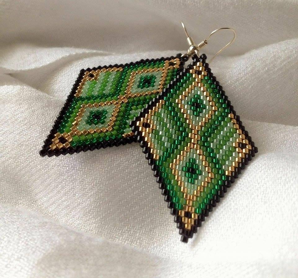 Green and Gold earring pendant / Orecchini Pendenti rombo verde e dorato