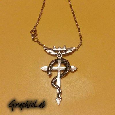 Collana Edward Elric Fullmetal Alchemist con Croce e Serpente