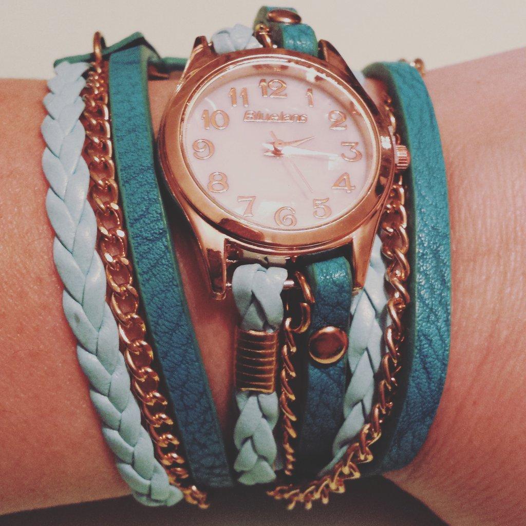 Bracciale orologio cordino verde petrolio e verde Tiffany