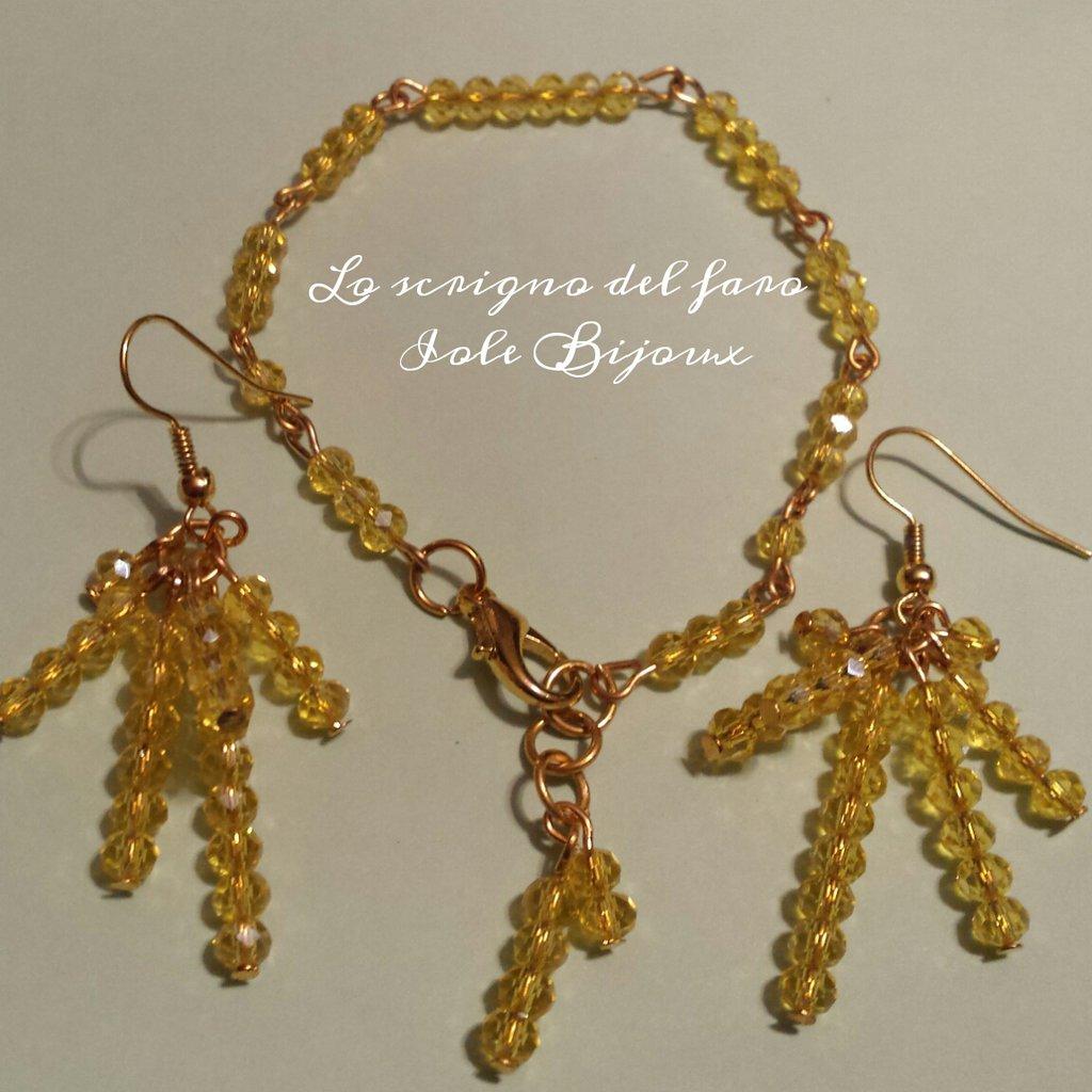 Orecchini e bracciale cristalli giallo mimosa