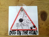 targhetta per auto -dog on the road
