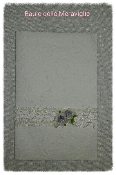 Partecipazione nozze in carta cotone realizzata a mano -  lavanda