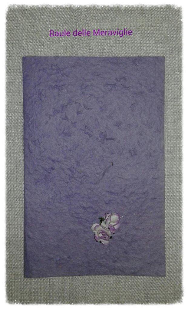 Partecipazione nozze in carta cotone lavanda realizzata a mano