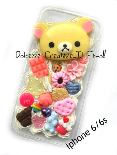 Cover IPhone 6/6s FLESSIBILE Orso kawaii cute caramelle cioccolato leccalecca coniglio kawaii cute