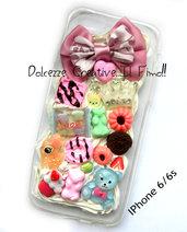Cover IPhone 6/6s FLESSIBILE Oro kawaii waffle, caramelle miniature cioccolato