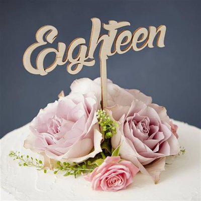 """INSERZIONE RISERVATA PER LIZZY - scritta torta compleanno """" eighteen"""" - no fimo"""