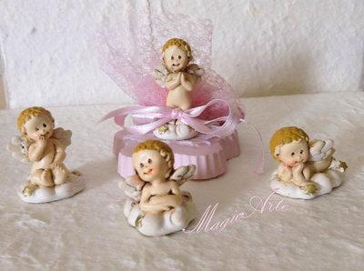 Bomboniere battesimo angeli rosa e confettata