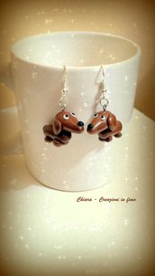 Orecchini in fimo handmade Cani Bassotti kawaii miniature idee regalo amica compleanno bomboniere