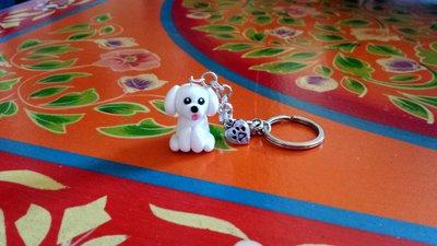 Portachiavi in fimo handmade Cane Bolognese kawaii miniature idee regalo amica compleanno bomboniere