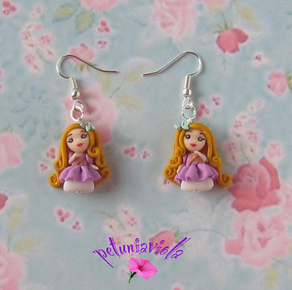Principessa Rapunzel orecchini fimo-Principesse fimo-Principesse gioielli