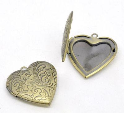 ciondolo cuore apribile per foto idea regalo color bronzo