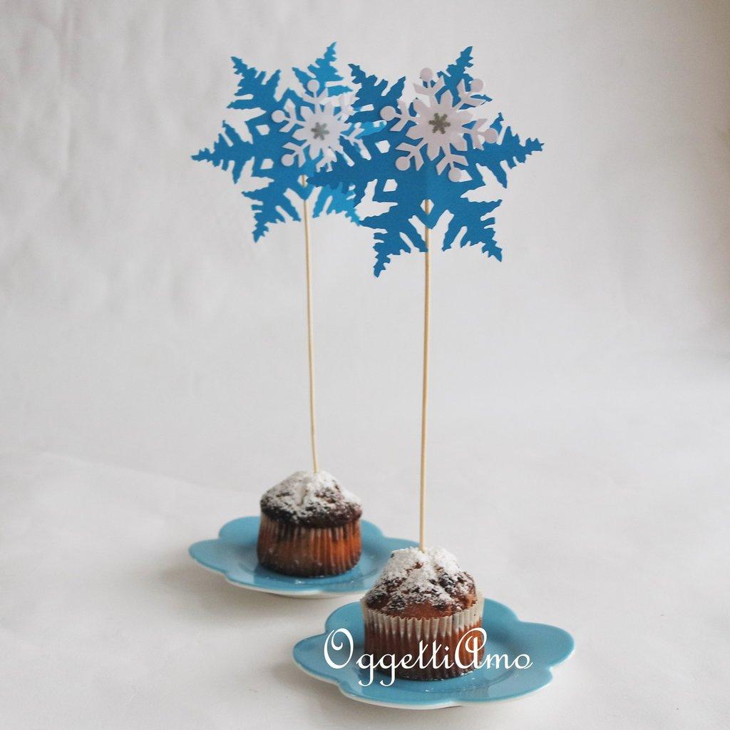 10 Cupcake topper 'cristallo di ghiaccio' per la sua festa a tema Frozen!