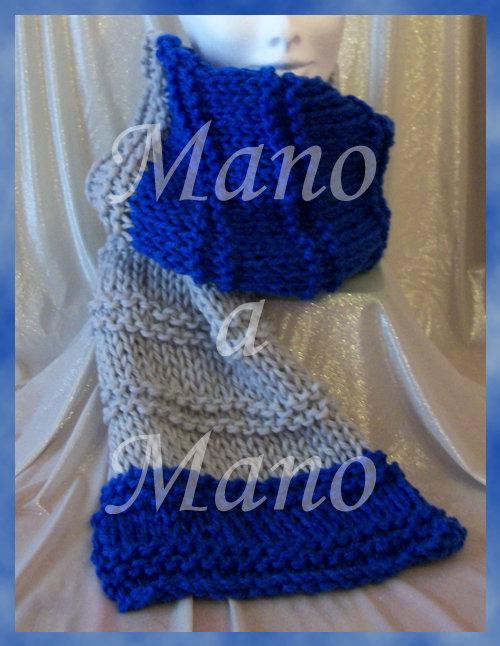 Sciarpona lunga - Blu reale e Grigio perla