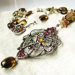 Collana ricca in argento sterling, con pietre preziose - ENIGMA