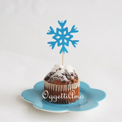 40 cupcake topper in carta celeste a forma di cristallo di ghiaccio per la sua festa di compleanno a tema Frozen
