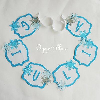 Ghirlanda 'Giulia' per personalizzare la sua festa di compleanno a tema Frozen