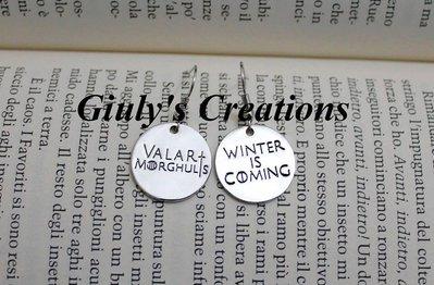 Orecchini Valar Morghulis Winter is Coming Casa Stark Game Of Thrones Il Trono di Spade