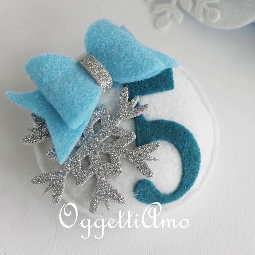Spilla per la festeggiata in occasione della sua festa di compleanno a tema Frozen
