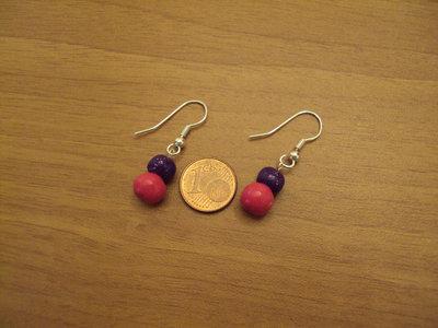 Orecchini palline fuxia-viola glitterato