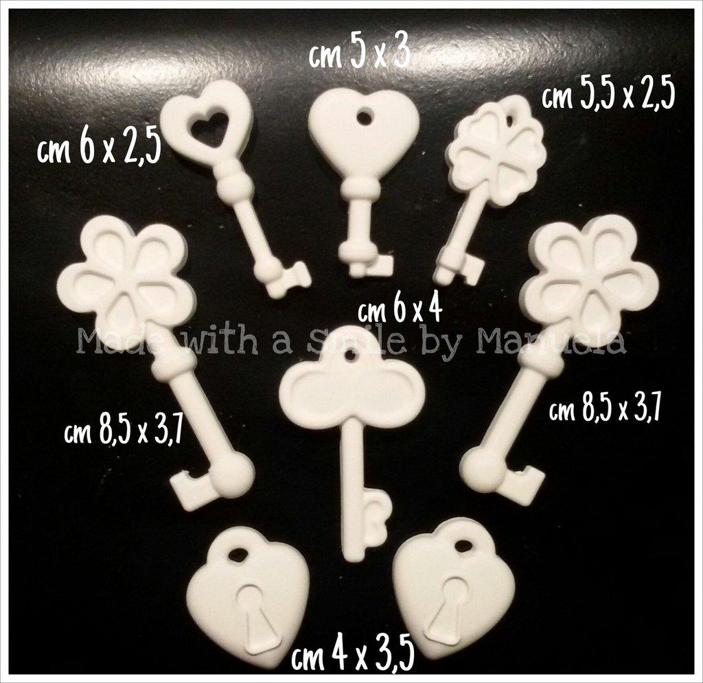 gessetti decorativi polvere di ceramica ideali per bomboniere chiavi e lucchetti