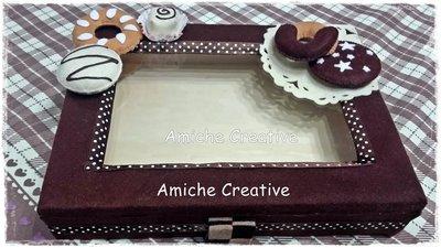 Scatola di legno rettangolare decorata in pannolenci color cioccolato