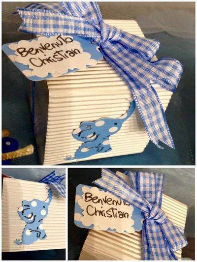 Bomboniera nascita/ battesimo/ compleanno con elefante, fiocco e tag personalizzato