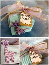 Bomboniera nascita/ battesimo/ compleanno con giraffa, doppio fiocco e tag personalizzato