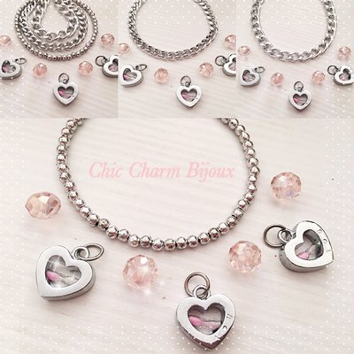 Braccialetti perle argentate e catene con pendente cuore