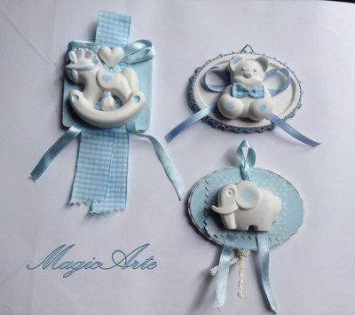 Bomboniere battesimo medaglie cielo/cavalluccio/orsetto/elefantino
