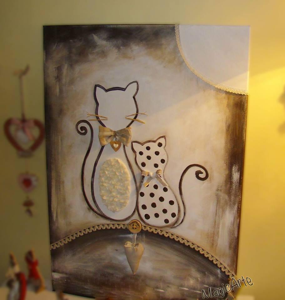 """Quadro """"Gatti"""" dipinto a mano"""