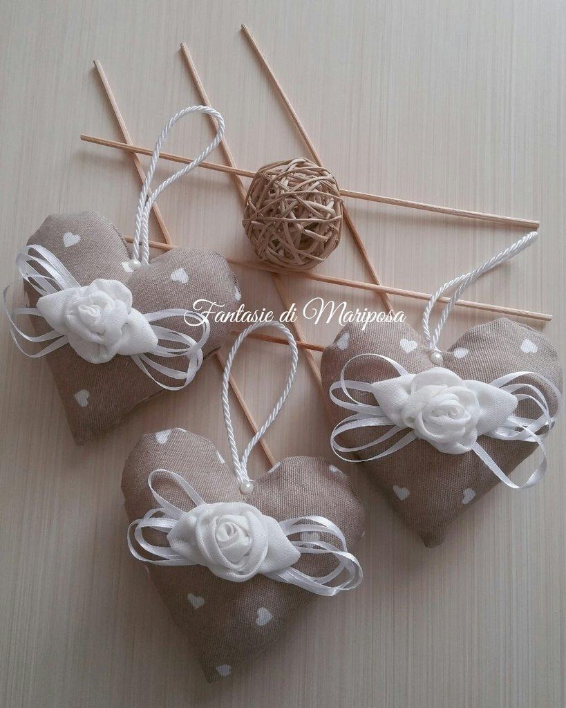 Cuori decorativi shabby chic - Bomboniera- Segnaposto-Idea regalo