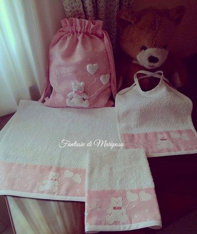 Set asilo bimba - Sacca,asciugamani,bavaglino,copertina - Idea regalo