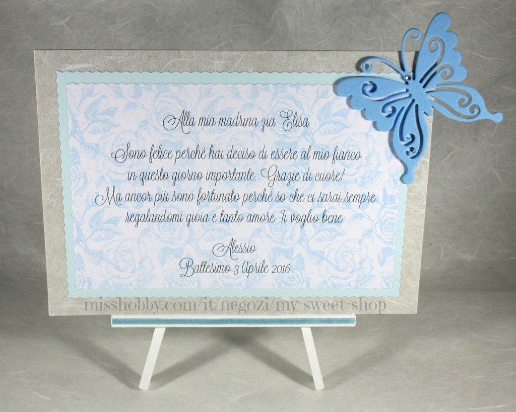 Targhetta con farfalla versione azzurra - regalo bomboniera madrina padrino Battesimo