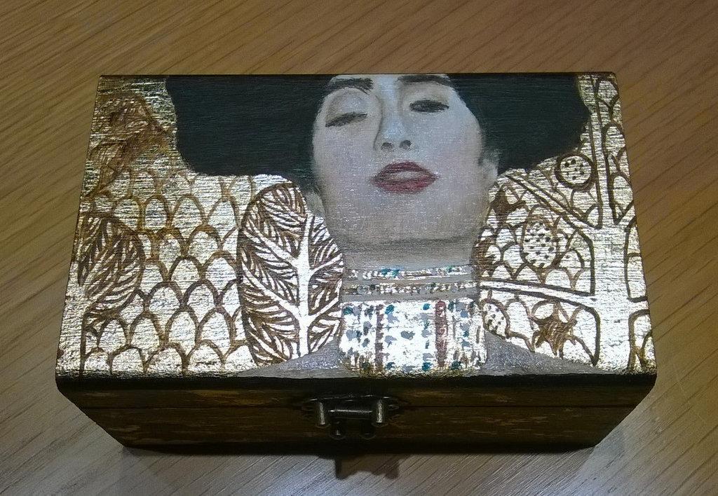Cofanetto in legno dipinto a mano. Cofanetto Gustave Klimt. Portagioie dipinto a mano.