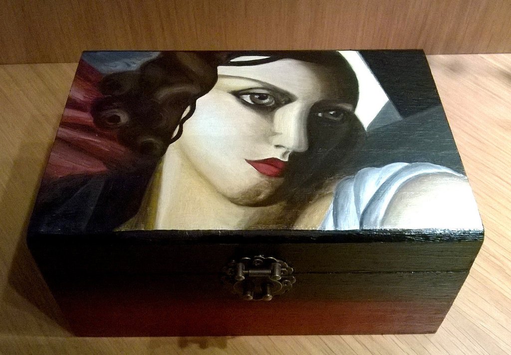 Cofanetto in legno dipinto a mano. Cofanetto Tamara De Lempicka. Portagioie dipinto a mano.