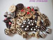 lotto 26 ciondoli ringo tegolino nutella cioccolato handmade