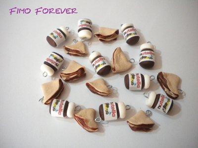 lotto 10 ciondoli nutella e crepes in fimo handmade