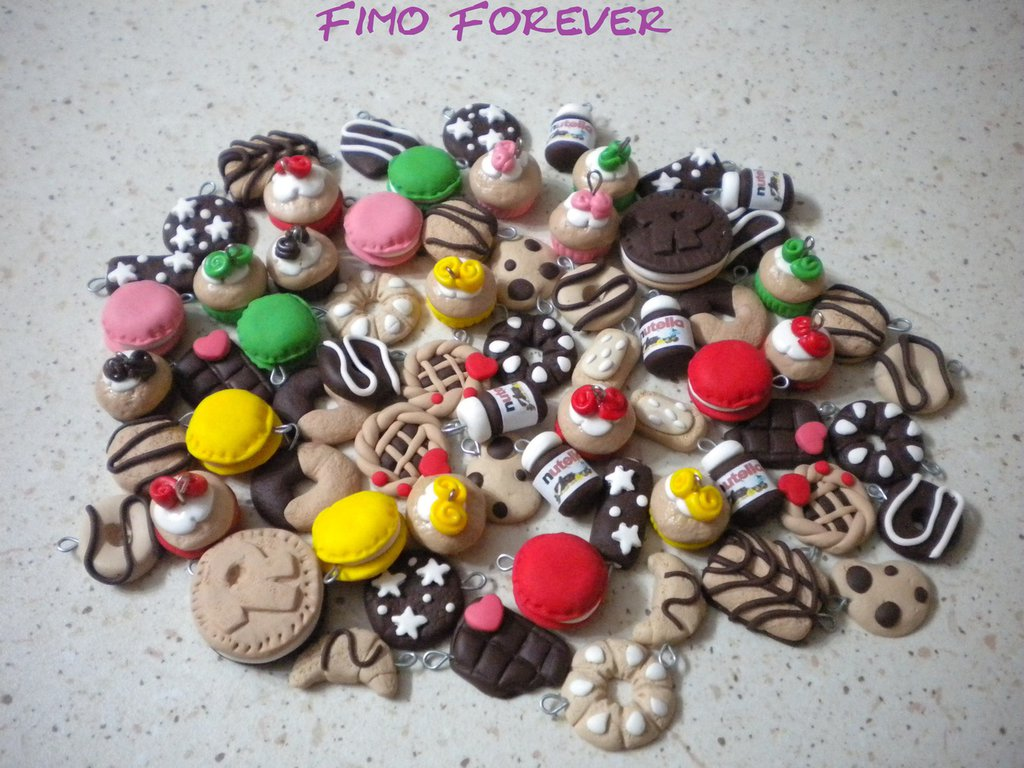 100 ciondoli fimo nutella ringo yoyo cupcake macarons handmade