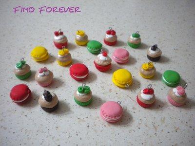 lotto 20 ciondoli macarons e cupcake in fimo handmade
